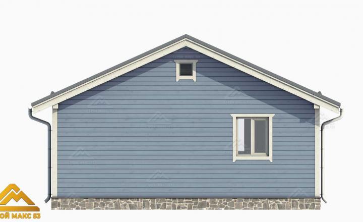 3-д фасад финского дома 8х8 с террасой вид сзади