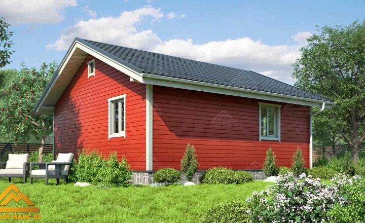 финский одноэтажный дом 8х8 с террасой