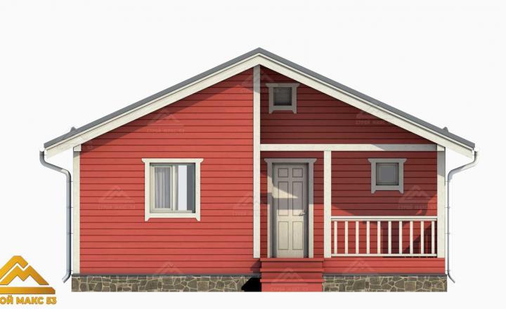 проект 3-д финский дом с террасой красный фасад