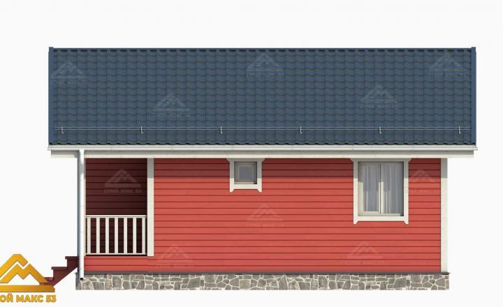 финский дом с мансардой 3D-рисунок фасада красного цвета