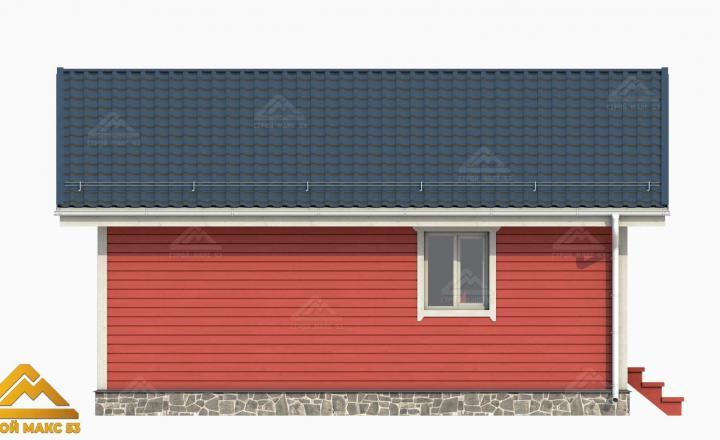 красный фасад финский дом 3-д план вид сбоку