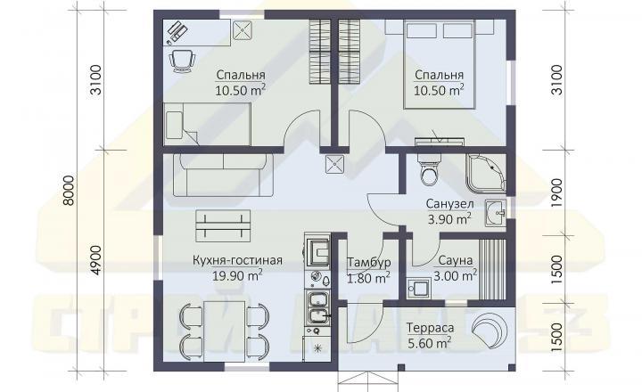 план этажа финского дома с сауной