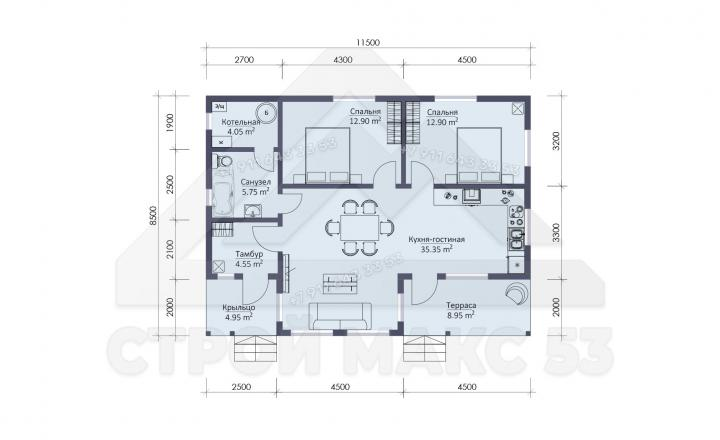 планировка одноэтажный каркасного дома 11 на 8 под ключ в Санкт-Петербурге