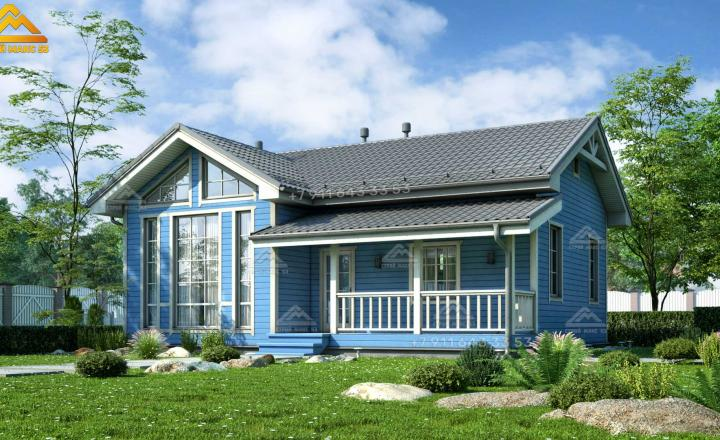 одноэтажный каркасный дом со вторым светом голубой фасад