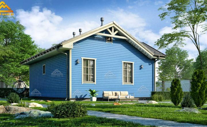 одноэтажный каркасный дом со вторым светом вид сзади