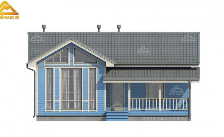 3-д изображение одноэтажного каркасного дома со вторым светом вид спереди