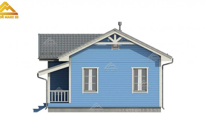 3d эскиз каркасного одноэтажного дома со вторым светом вид сбоку
