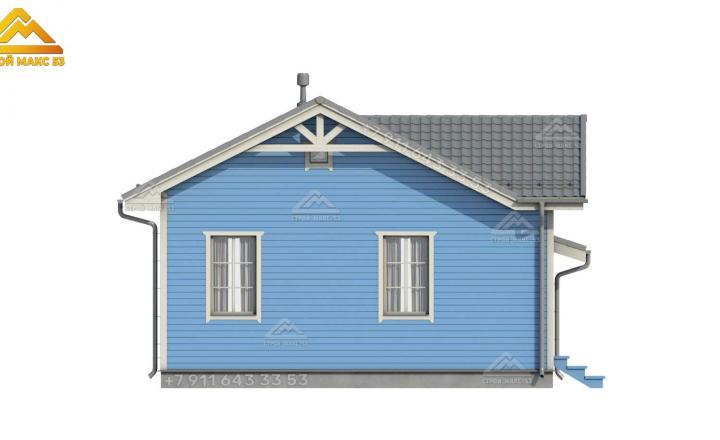 3-d визуализация бокового фасада одноэтажного каркасного дома со вторым светом