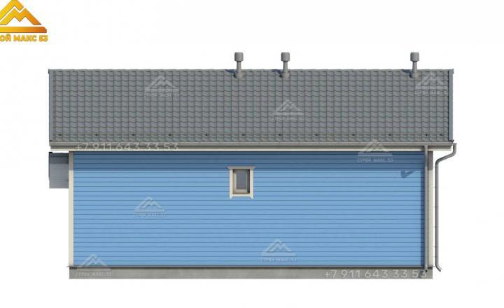 3-д рисунок одноэтажного каркасного дома в Санкт-Петербурге вид сзади
