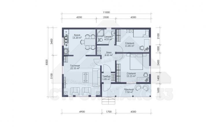 планировка одноэтажного каркасного дома в Санкт-Петербурге со вторым светом