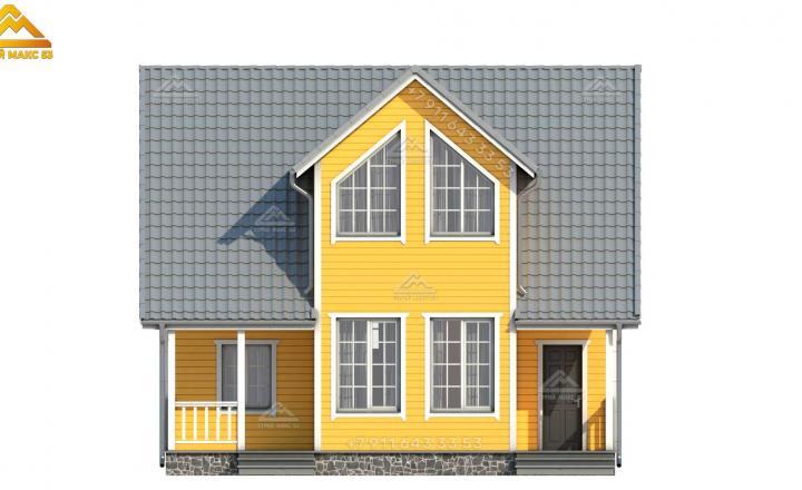3-д визуализация желтого фасада каркасного дома с мансардой вид спереди