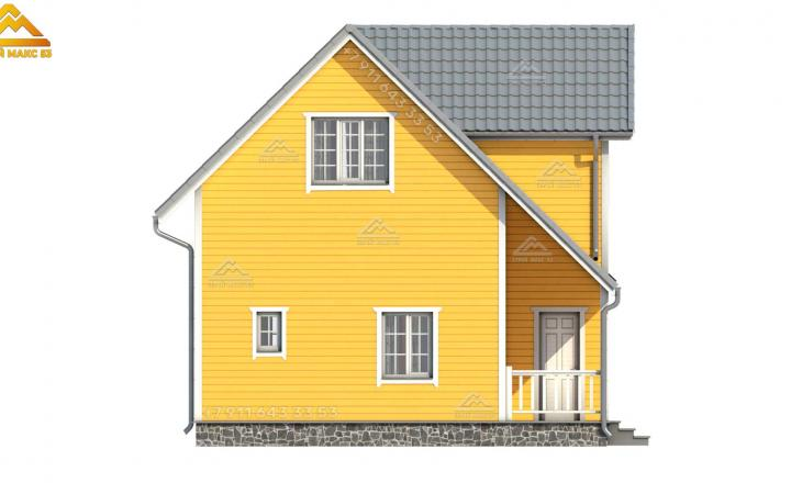 3-д визуализация бокового фасада в желтом цвете каркасного дома под ключ в Санкт-Петербурге