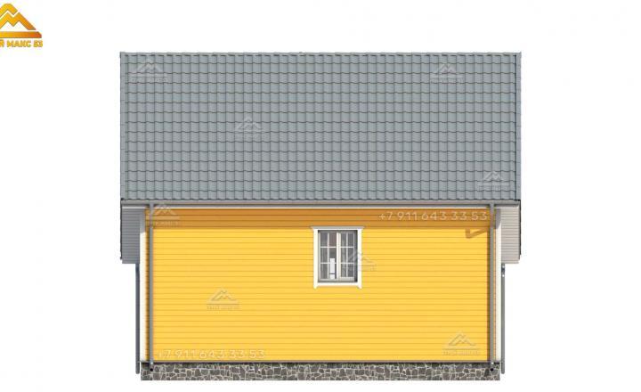 3-д рисунок фасада в желтом цвете каркасного дома в СПб с мансардой вид сзади
