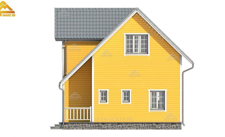 3-D визуализация бокового желтого фасада каркасного дома в Санкт-Петербурге