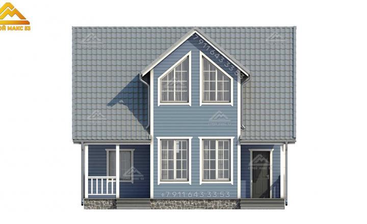 3-д визуализация серого фасада каркасного дома под ключ в СПб вид спереди