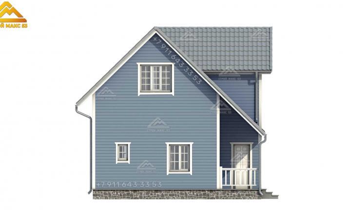 3-д визуализация серого бокового фасада каркасного дома с мансардой в Санкт-Петербурге