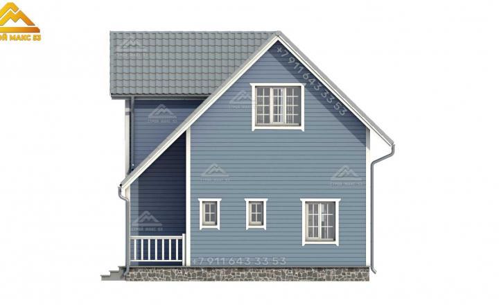 3-д рисунок серого фасада каркасного дома с мансардой под ключ вид сбоку