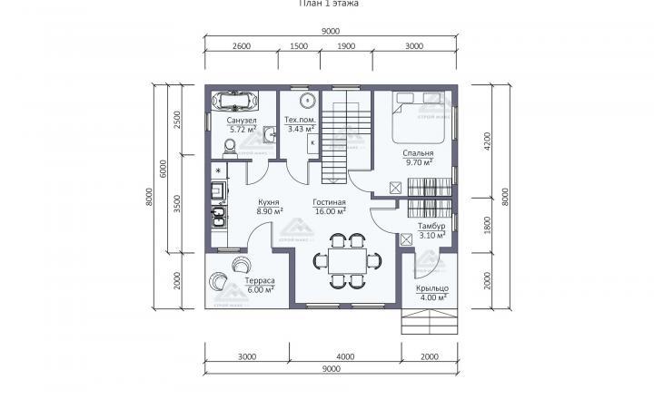 планировка первого этажа каркасного дома под ключ в СПб