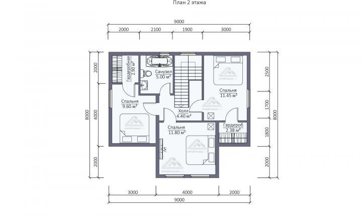 планировка второго этажа каркасного дома с мансардой под ключ СПб