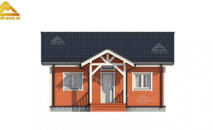 3-д изображение фасада зимнего каркасного дома под ключ вид спереди