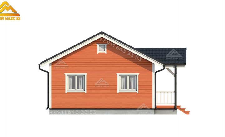 3-д проект бокового фасада недорогого каркасного дома в Санкт-Петербурге