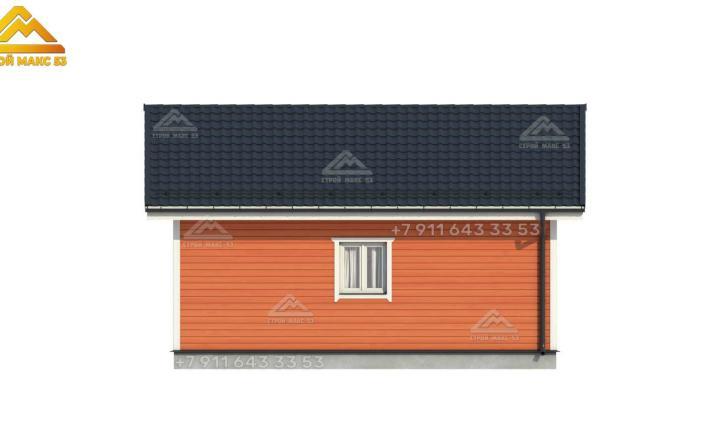 3-D визуализация бокового фасада недорогого каркасного дома в Санкт-Петербурге