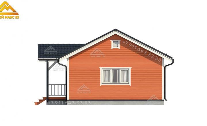 3-д изображение фасада зимнего каркасного дома под ключ вид сзади