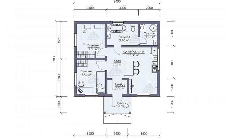 планировка каркасного зимнего дома в Санкт-Петербурге