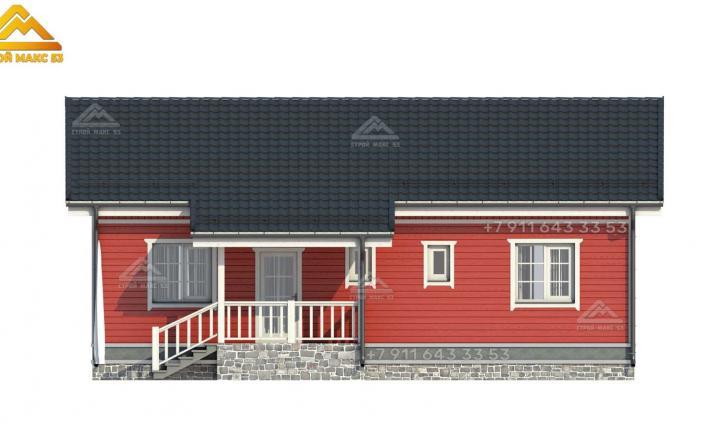 3-д рисунок каркасного одноэтажного дома 12 на 9 вид спереди