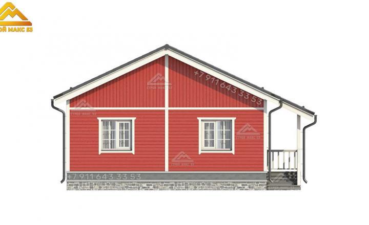 3-д визуализация бокового фасада одноэтажного каркасного дома в Санкт-Петербурге