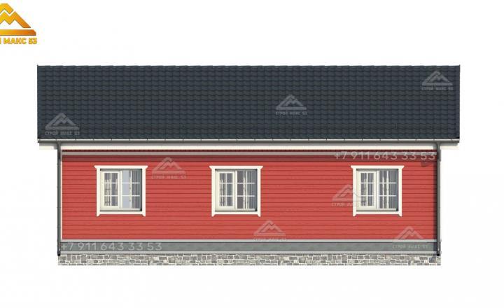 3-d проект фасада одноэтажного каркасного дома в Санкт-Петербурге вид сзади