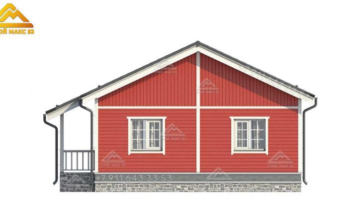 3-д проект бокового фасада одноэтажного каркасного дома в Санкт-Петербурге