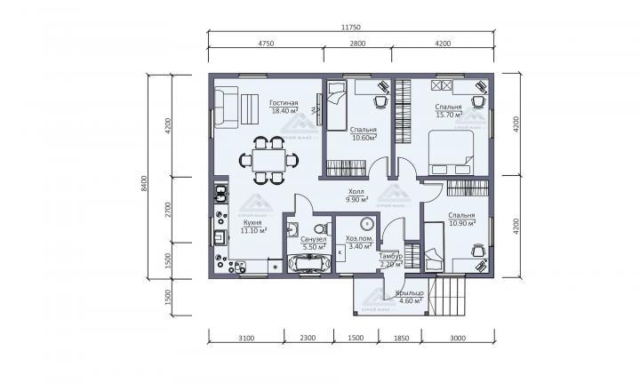 планировка каркасного одноэтажного дома в Санкт-Петербурге 12х9