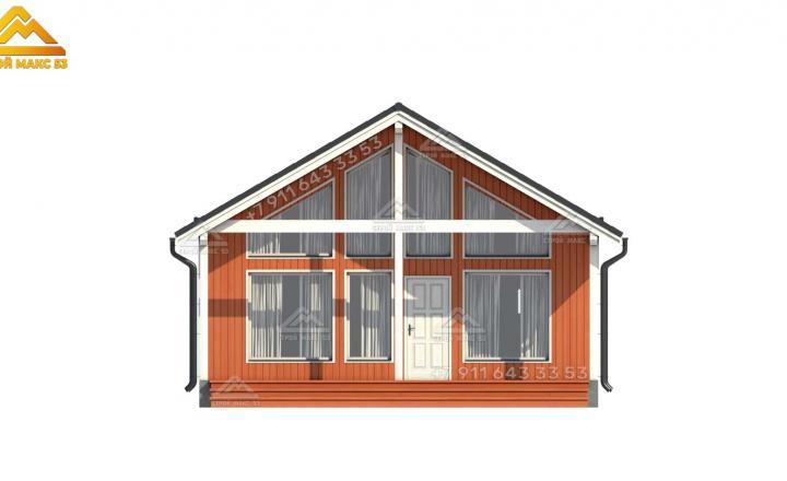 3-д проект одноэтажного каркасного дом под ключ со вторым светом вид спереди
