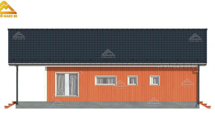 3-d изображение бокового фасада одноэтажного каркасного дома со вторым светом 14х8