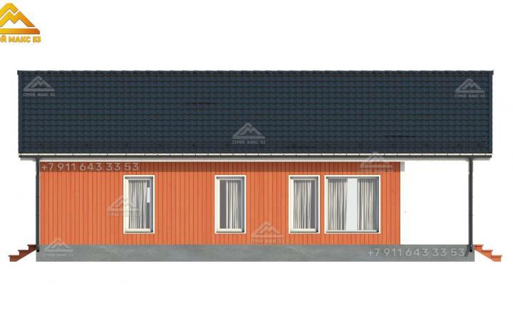 3-д визуализация бокового фасада одноэтажного дома под ключ со вторым светом в Санкт-Петербурге