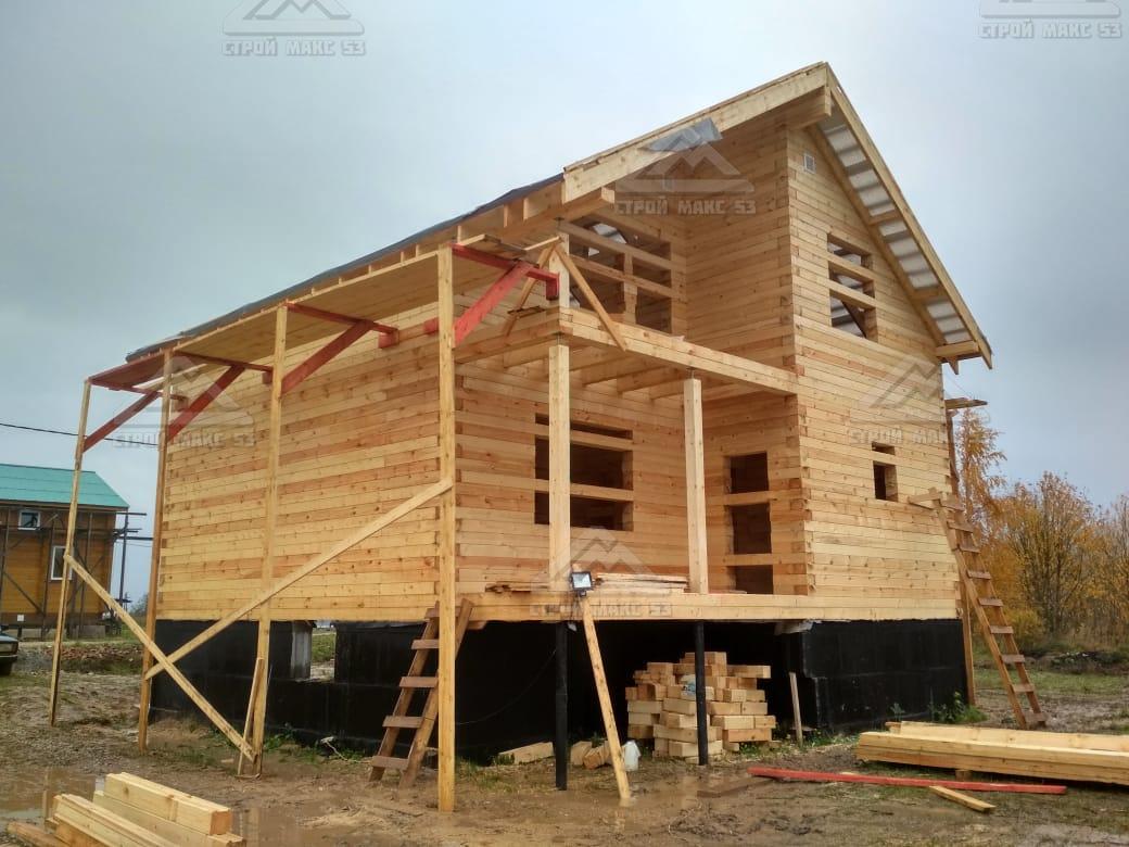 двухэтажный брусовой дом