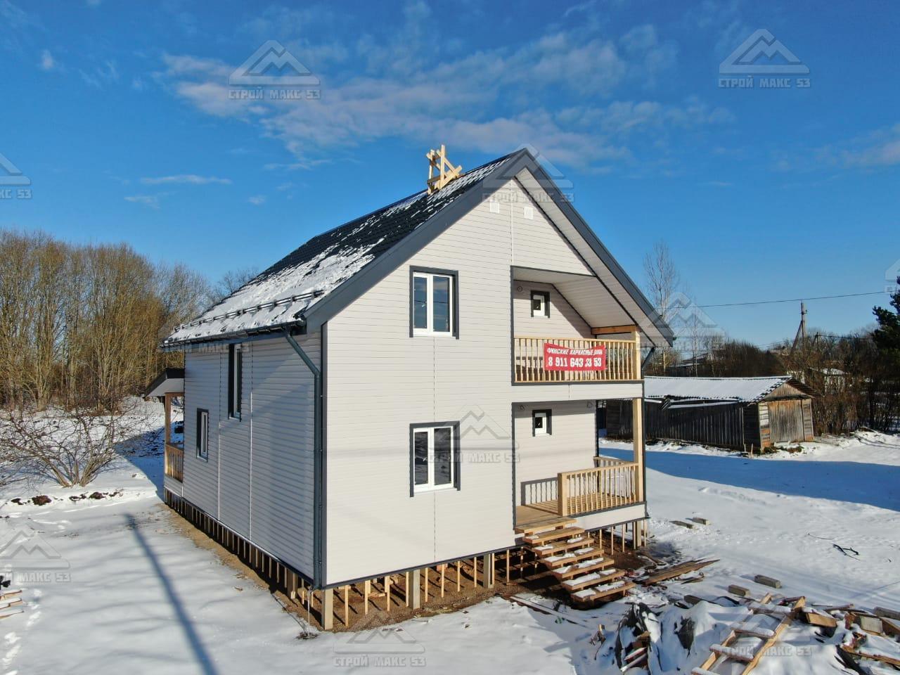 каркасный дом 8х9 с террасой