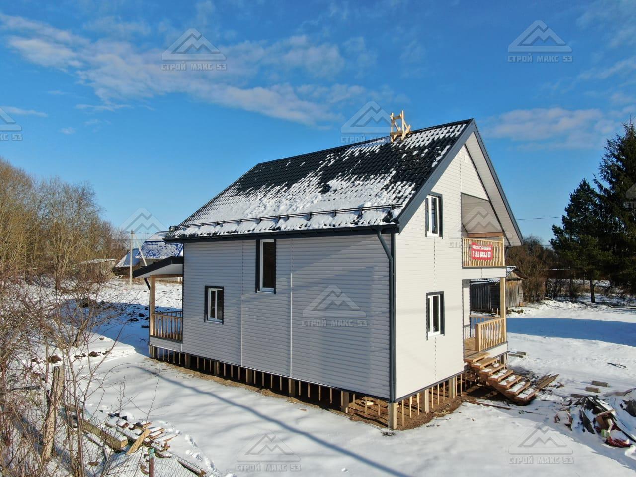 каркасный дом с мансардой вид сбоку
