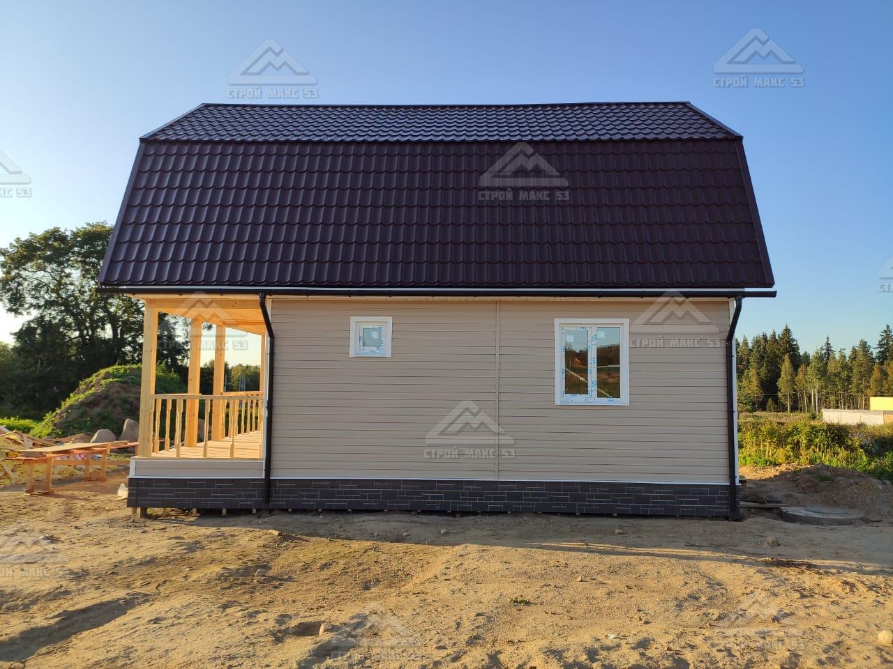 каркасный двухэтажный дом вид сбоку