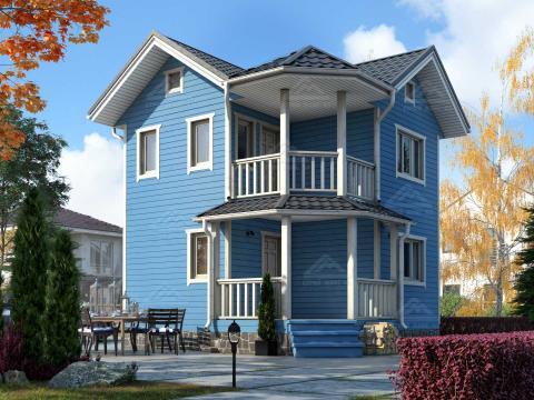 финский каркасный дом 6 на 6 с балконом и эркером