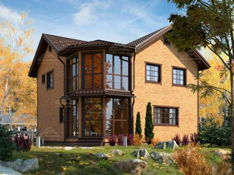 финский каркасный дом 9 на 9 с балконом