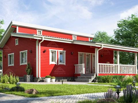 финский одноэтажный дом 10 на 12 с террасой