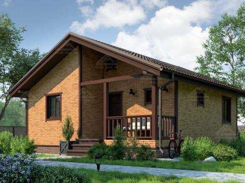 финский одноэтажный каркасный дом с сауной