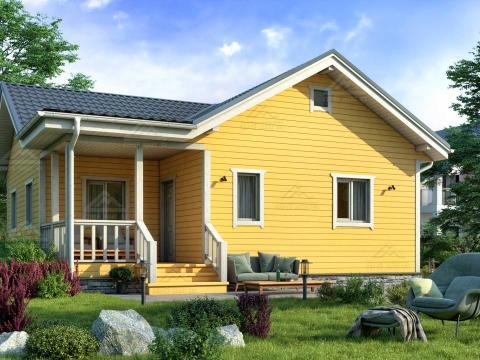 Финский Каркасный Одноэтажный Дом (9 на 9) Под Ключ